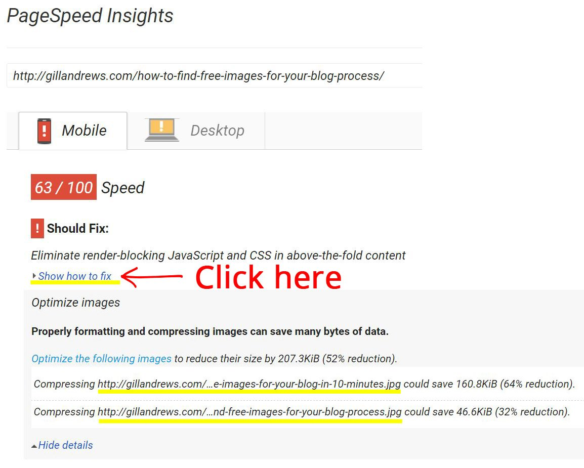 Step 1: Analyze your page and check if your images need to be optimized