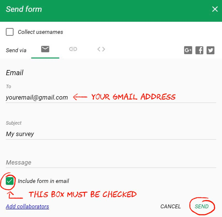 how to create a survey in gmail