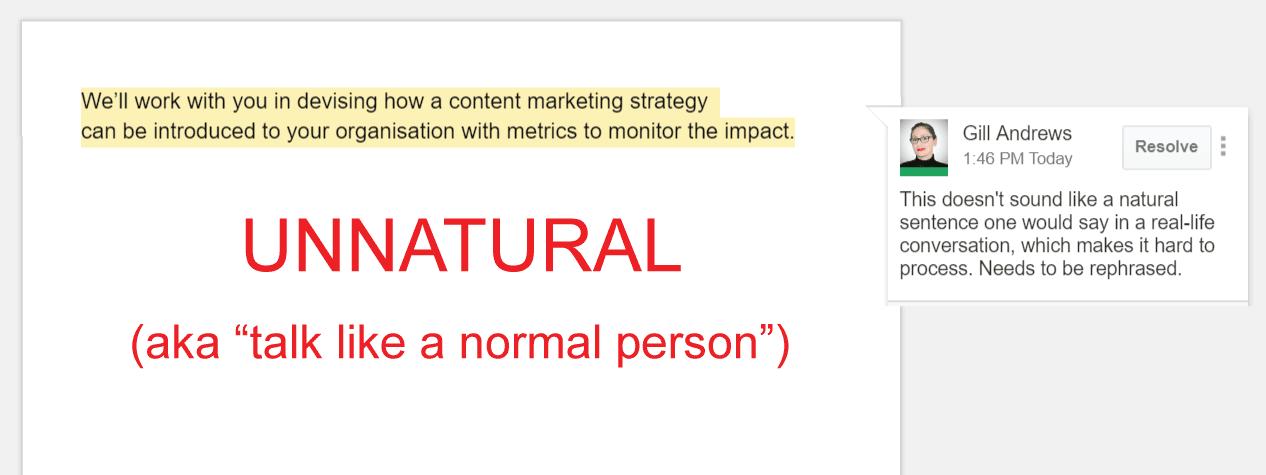 Copywriting mistake 2: Unnatural language