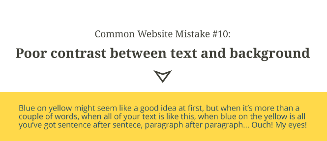 Common website mistake #10: Poor contrast between text and background