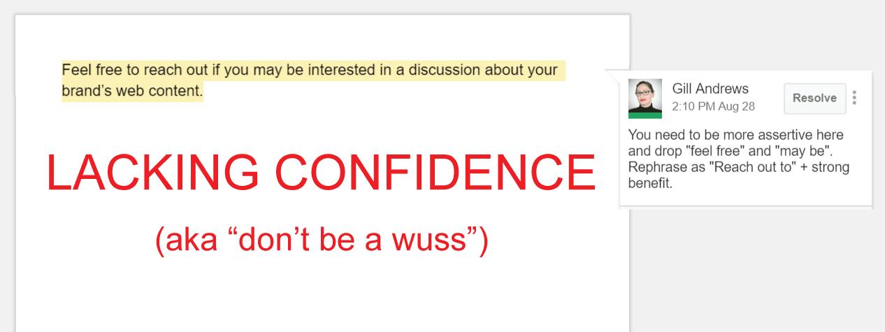 Copywriting mistake 8: Copy that lacks confidence