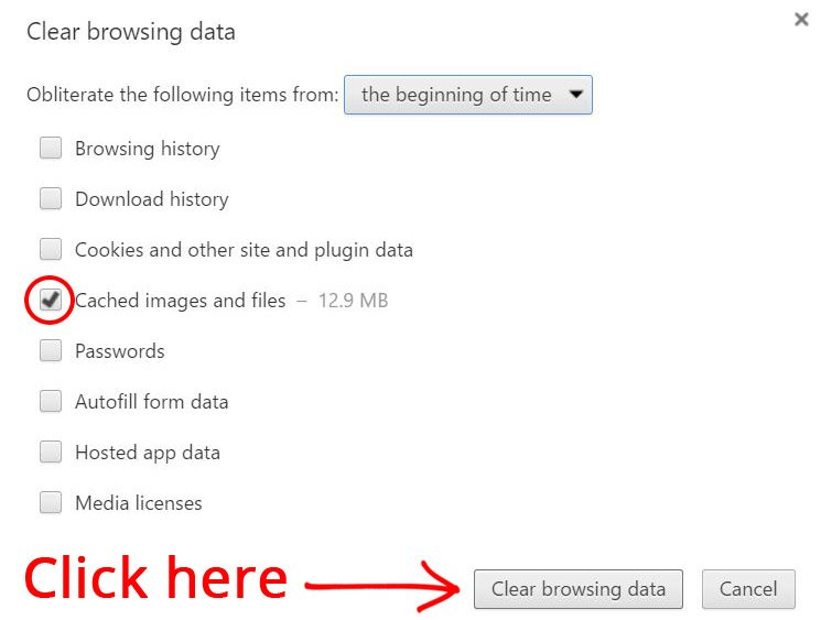 Step 4: Clear cashed images and files.