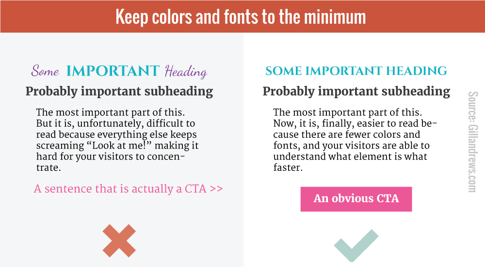 Keep colors and fonts to the minimum