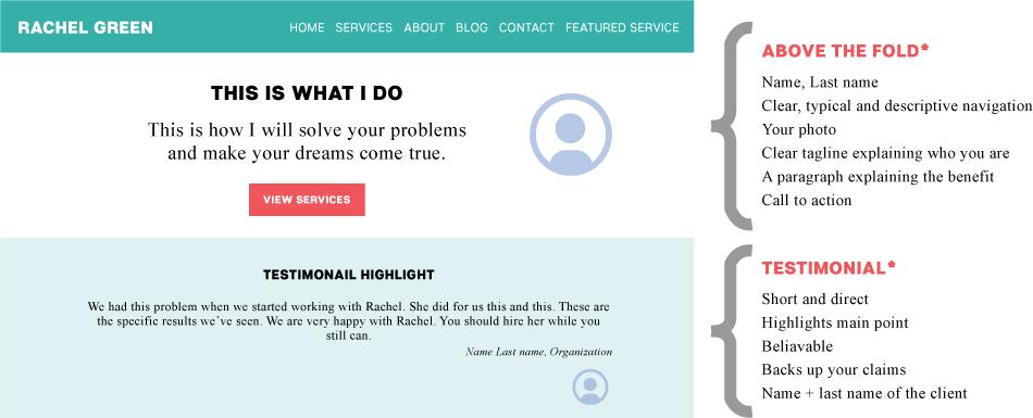 Freelancer homepage template: Sneak peek