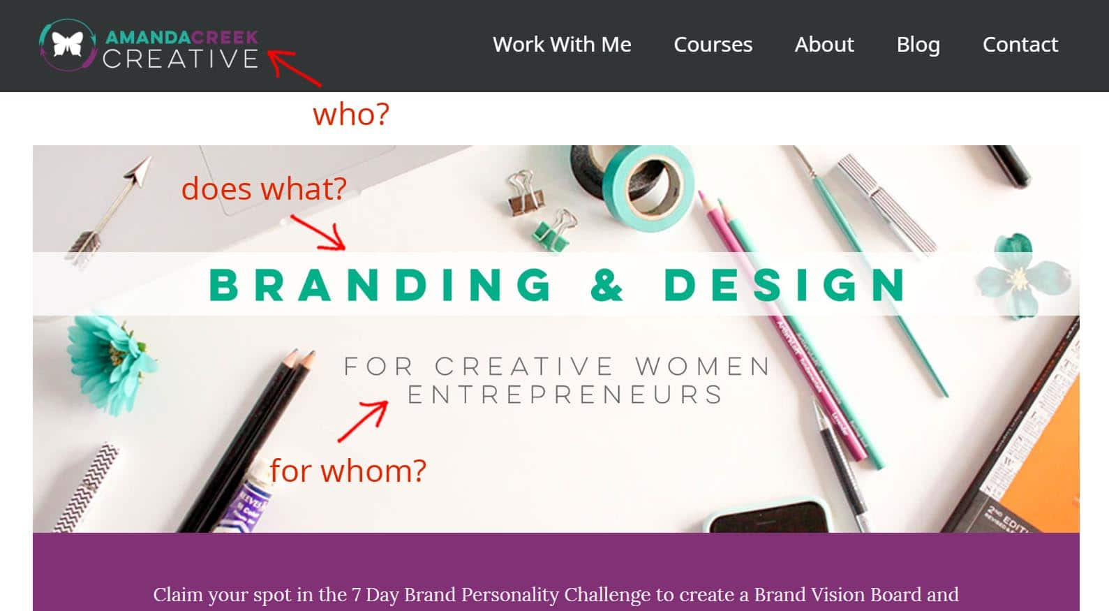 Example of great website tagline: Amanda Creek Creative