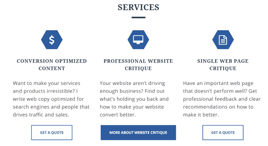 A Dedicated Services Page