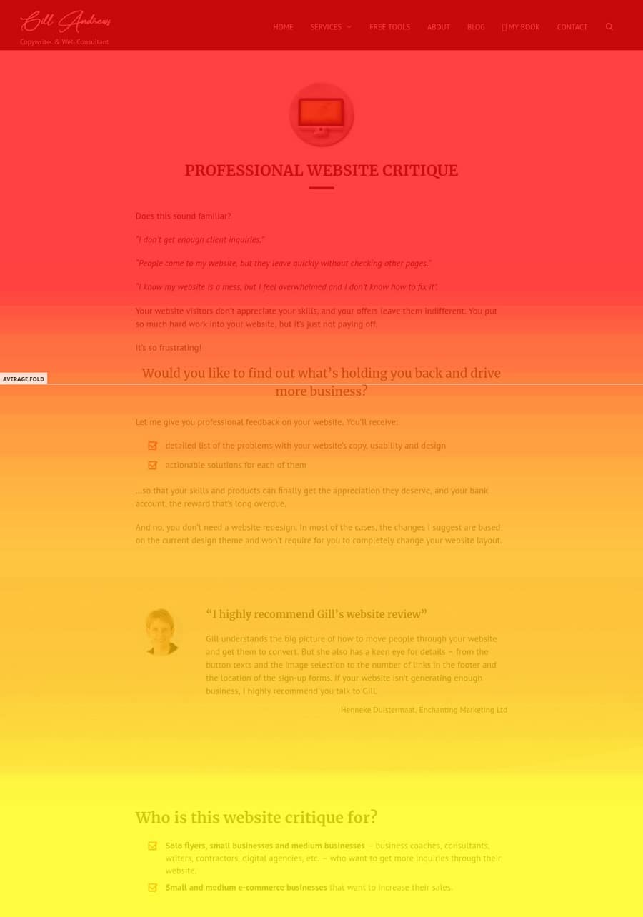 Heat map of scrolling depth for website review service page