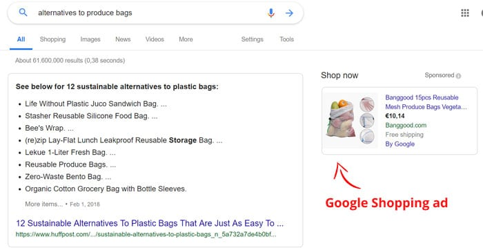 Example: Google Shopping ad