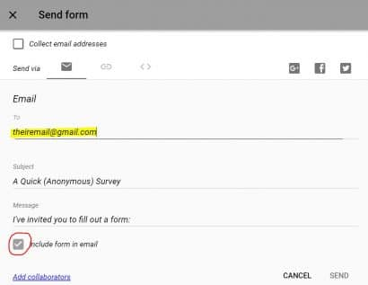 Insert survey in email