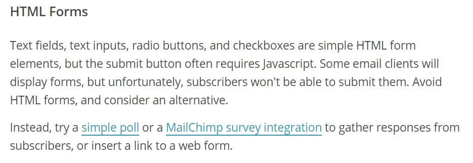Mailchimp survey integration