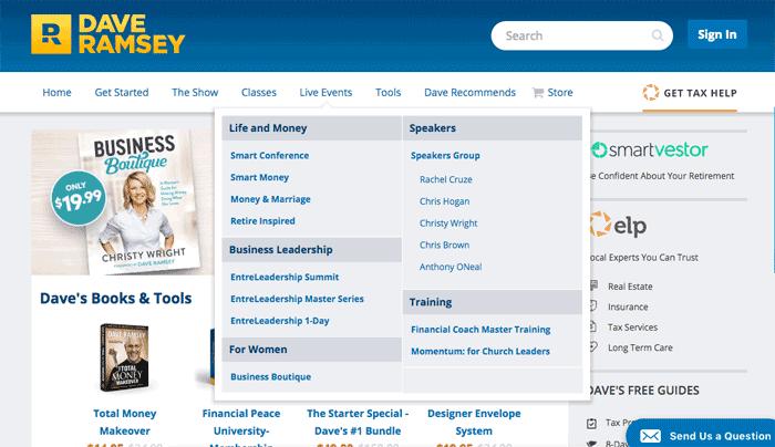Mega menu example