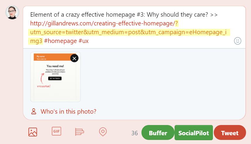 Sharing a link with UTM parameters on social media