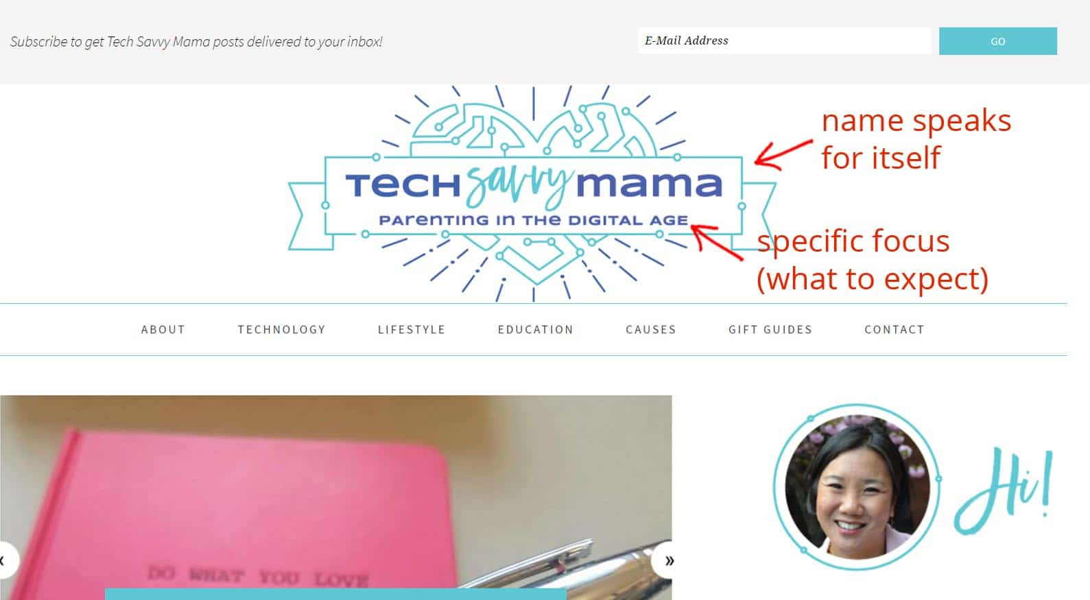 Example of great website tagline: Tech Savvy Mama