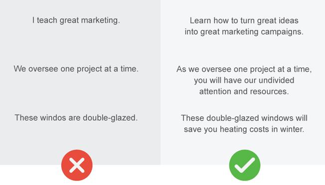Website mistake: Me-focused copy